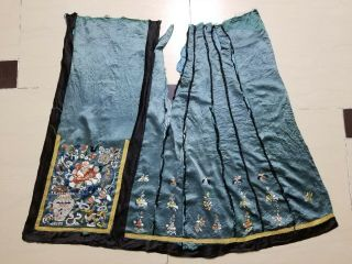 Antique Chinese Silk Hand Embroidered Skirt Panel (y251)