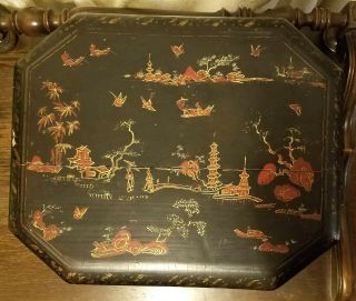 Large Antique Chinese Lacquer Box With Two Pewter Tea Caddies