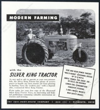 1946 Silver King Tractor Photo Fate Root Heath Vintage Print Ad