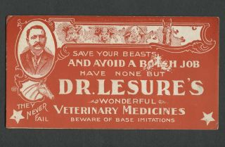 C.  1900 Pictorial Advertising Blotter Dr.  Lesure
