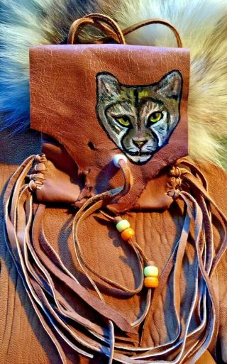 Mountain Lion Hand Painted Lambskin Medicine Bag,  With Fringe And Pony Beads.