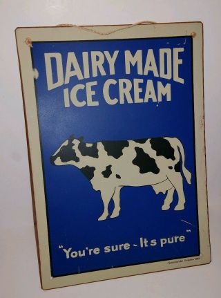 Dairy Made Ice Cream Metal Advertising Sign Kitchen Home Decor