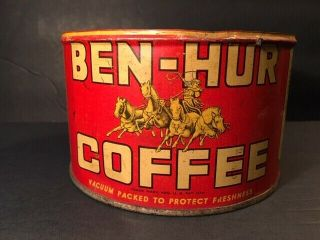 Very Rare Antique Coffee Tin Can Ben - Hur Coffee 1lb Kw With No Lid