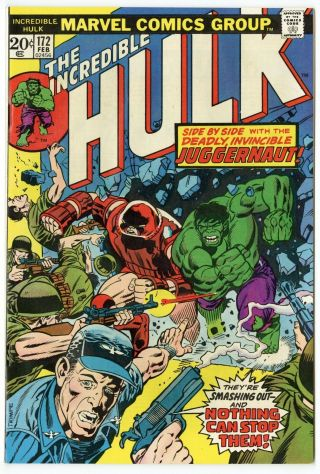 Hulk 172 Nm 9.  4 White Pages X - Men Cameo Juggernaut Marvel 1974