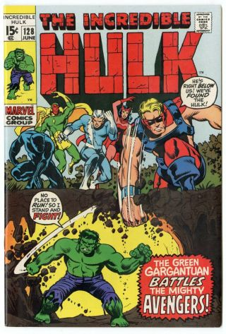 Hulk 128 Nm 9.  4 White Pages Avengers X - Over Marvel 1970