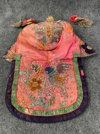 Antique 19th Century Chinese Silk Embroidered Butterfly And Bird Child