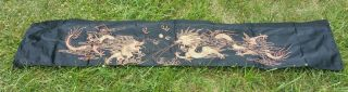 Antique Chinese Qing Dynasty Embroidered Silk Dragon Panel Textile 20th Century