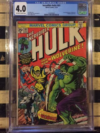 Incredible Hulk 181 - Cgc 4.  0 Vg - Marvel 1974 - Wendigo - 1st App Of Wolverine