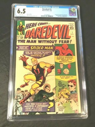 Comic Book Daredevil 1 Marvel 1964 Cgc 6.  5 Fine,  White Pages