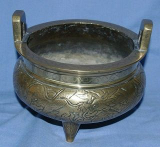 Very Fine Antique Chinese Bronze Censer With Handles & Signed 6 Character Mark