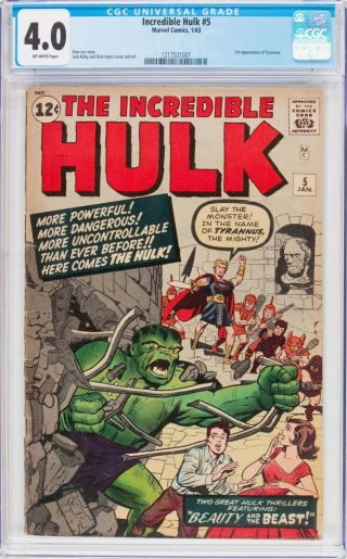 Incredible Hulk 5 Cgc 4.  0 1st Appearance Of Tyrannus Cgc 1217521001
