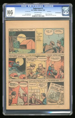 Superman (1939 1st Series) 1 Cgc Ng 13th Page Only 0218044017