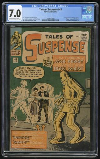 Tales Of Suspense 45 Cgc 7.  0 | 1st Appearance Of Pepper Potts & Happy Hogan