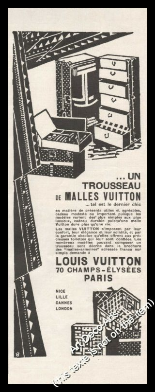 1925 Louis Vuitton Travel Trunk Vintage Print Ad - Z1