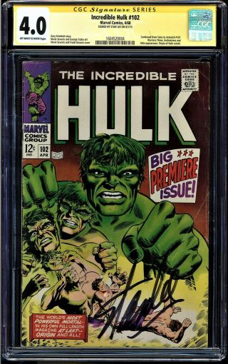 Incredible Hulk 102 Cgc 4.  0 Oww Ss Stan Lee 1st Hulk In Own Title 1604520004