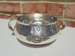Old Antique Liberty & Co Cymric Sterling Silver Arts & Crafts Hammered Hdld Bowl