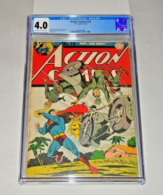 Action Comics 76 Cgc 4.  0 Off - White To White Pages 1944 Superman Wwii Cover