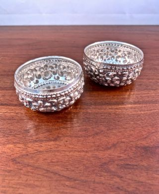 (2) Small Indian / Burmese Solid Silver Bowls: Repousse Design,  No Monograms