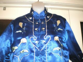 Antique Chinese Royal Blue Silk Jacket/robe Embroidered W/white Calla Lilies