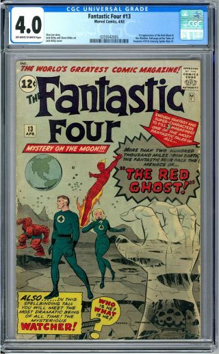 Fantastic Four 13 Cgc 4.  0 (ow - W) 1st Red Ghost 1st Watcher