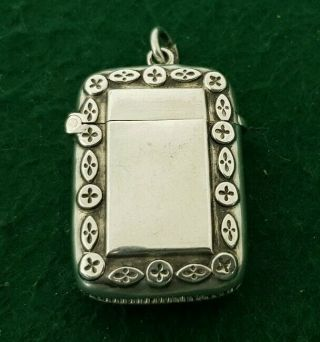 Antique Hallmarked 1896 Cs Tbs Solid Sterling Silver Vesta Case With Matches
