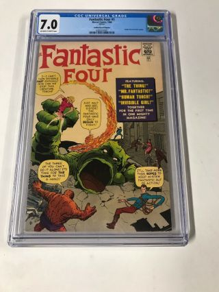 Fantastic Four 1 Cgc 7.  0 Ow/w Pages Golden Record Reprint Marvel