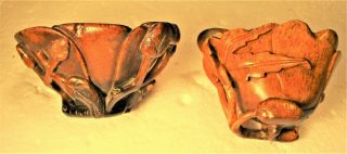 2 UNIQUE CHINESE 18TH C? OX HORN LIBATION CARVED CUPS,  COLORS & PATINA 2