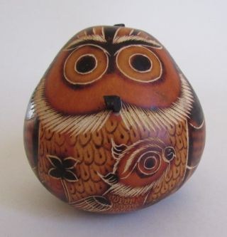 """Gourd Owl Bird Carved 2 3/4 """" T Handcrafted In Peru"""