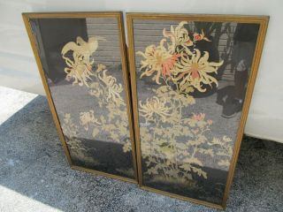 "Antique Chinese Silk Embroidered Panels With Bird Large 40 "" By 19 """