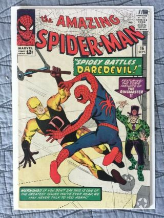 Rare 1964 Silver Age Spider - Man 16 Key Daredevil Battle Issue Complete