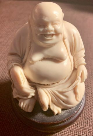 Antique White Laughing Buddha On Wood Plinth