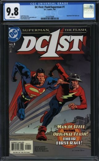 Dc First: Flash / Superman 1 Cgc 9.  8 Rollins Nowlan Superman And Flash Race