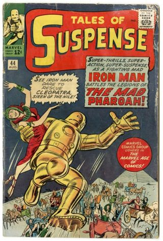 Tales Of Suspense 44 G/vg 3.  0 Off - White Pages Cleopatra Iron Man Marvel 1963