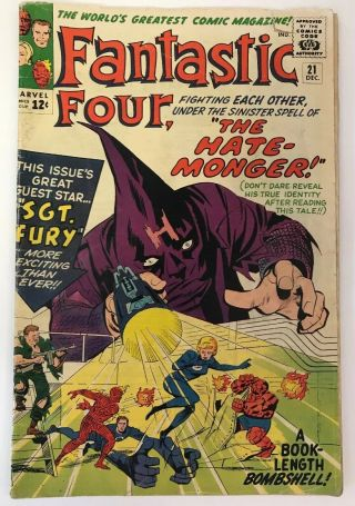 The Fantastic Four 21 Marvel Comics 1963 Jack Kirby Vg 1st Sgt.  Fury Crossover