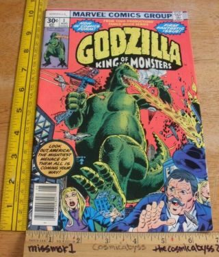Godzilla King Of The Monsters 1 Marvel Comic Book Vf,  1970s Bronze Age.  30 Cent