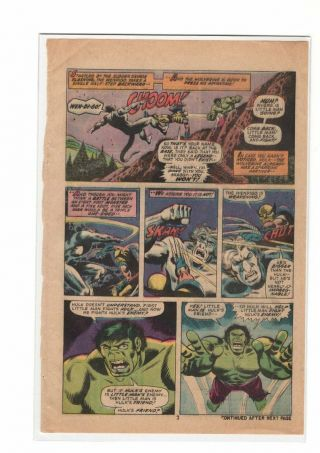 Incredible Hulk 181 1st Wolverine,  Marvel 1975 - Key - Page 2 Only