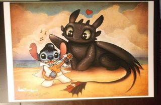 Nathan Szerdy Signed 12x18 Signed Print Elvis Stitch How To Train Your Dragon