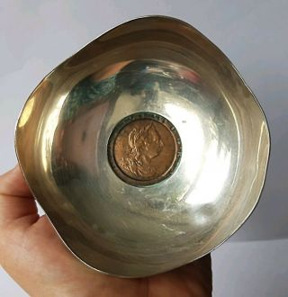 Sterling Silver Pin Dish With George Iii Cartwheel Penny