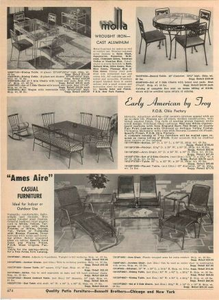 1964 Advert Molla Wrought Iron Patio Furniture Ames Aire Arlington House