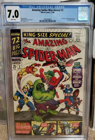 Spiderman Annual 3 Cgc 7.  0,  White Pages Avengers Appearance Hulk L@@k