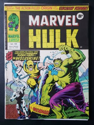 Mighty World Of Marvel 198 Incredible Hulk 181 1st App Wolverine Marvel Uk 1977