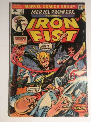 Marvel Premiere 15 Volume 1 1st Appearance Of Iron Fist - Key Issue.  G/vg