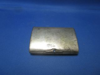 Antique Silver Plated Snuff Box With Sapphire Button & German Inscription