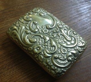 Fine Antique Silver Plated Card Case Repousse