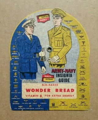 Army - Navy Insignia Guide,  Wonder Bread Premium,  Wwii 1941 - 45