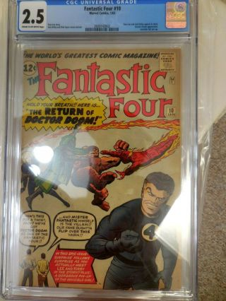 Fantastic Four 10 Cgc 2.  5 Doctor Doom Invisible Girl Pin - Up Stan Lee Jack Kirby