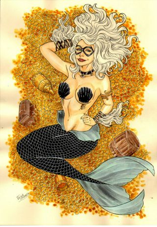 Black Cat Mermaid Sexy Color Pinup Art - Comic Page By Taisa Gomes