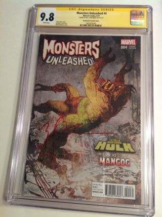 Cgc Ss 9.  8 Monsters Unleashed 4 Variant Cover Signed By Bill Sienkiewicz