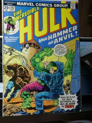 The Incredible Hulk 182 Vg Marvel Value Stamp Intact 3rd Wolverine