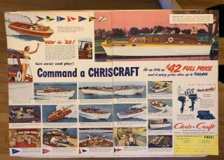 Print Ad 1951 Chris - Craft Boats Boat 47 - Ft Buccaneer Holiday 1952 2 Pg